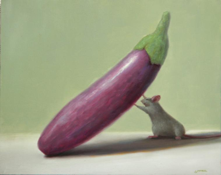 Heavy Lifter, oil on panel, 8 x 10 inches, $1,200