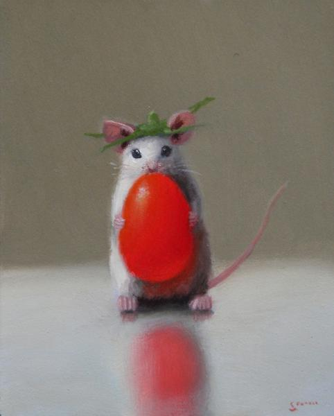 King Tomato, oil on panel, 5 x 4 inches  SOLD