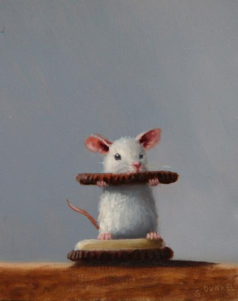 Mouse Sandwich, oil on panel, 5 x 4 inches, $600