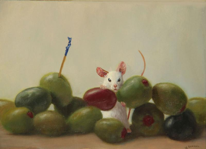 Olive Addict, oil on panel, 5 x 7 inches, $800