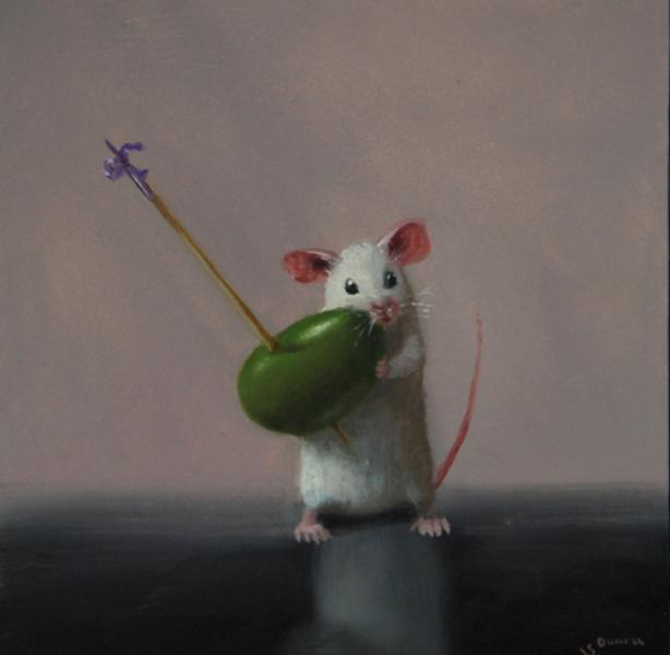 Olive Hunter, oil on panel, 5 x 5 inches, $700
