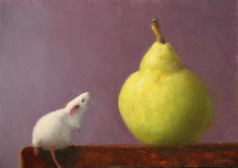 Peared Up, oil on panel, 5 x 7 inches, $800