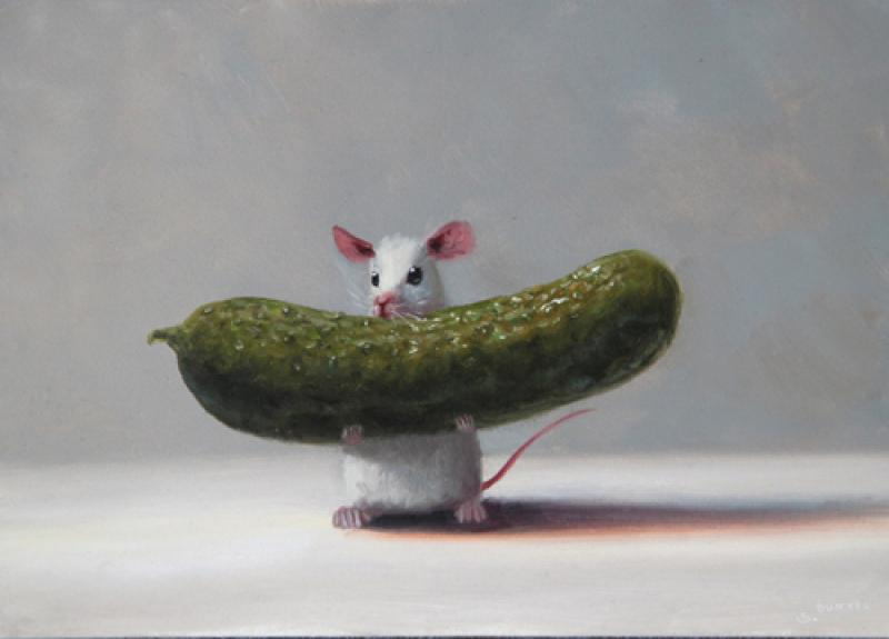 Pickle Picker, oil on panel, 5 x 7 inches, $800