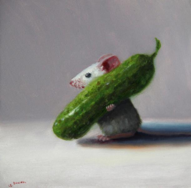 Pickle Poacher, oil on panel, 5 x 5 inches, $700