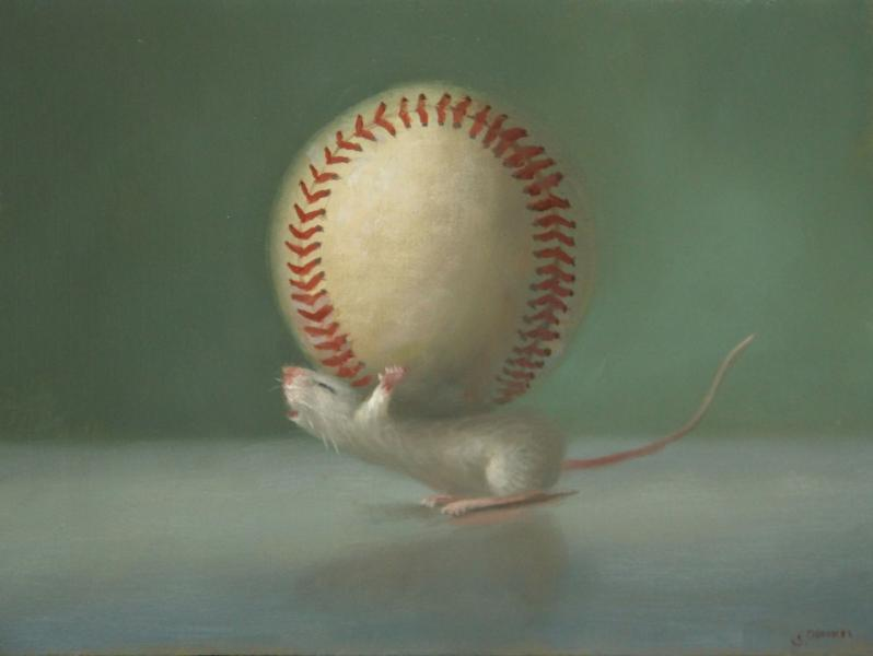 Play Ball, oil on panel, 6 x 8 inches   SOLD