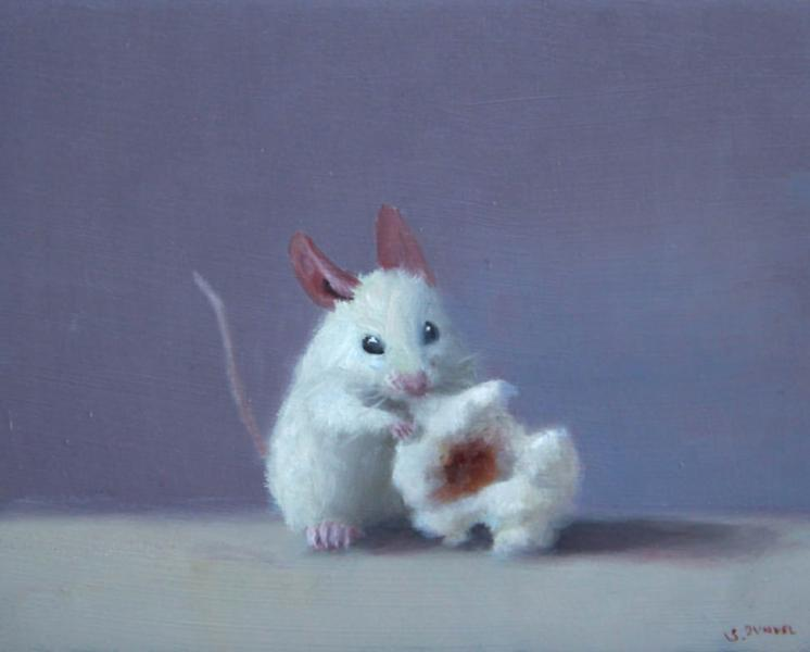 Popcorn Lover, oil on panel, 4 x 5 inches, $600