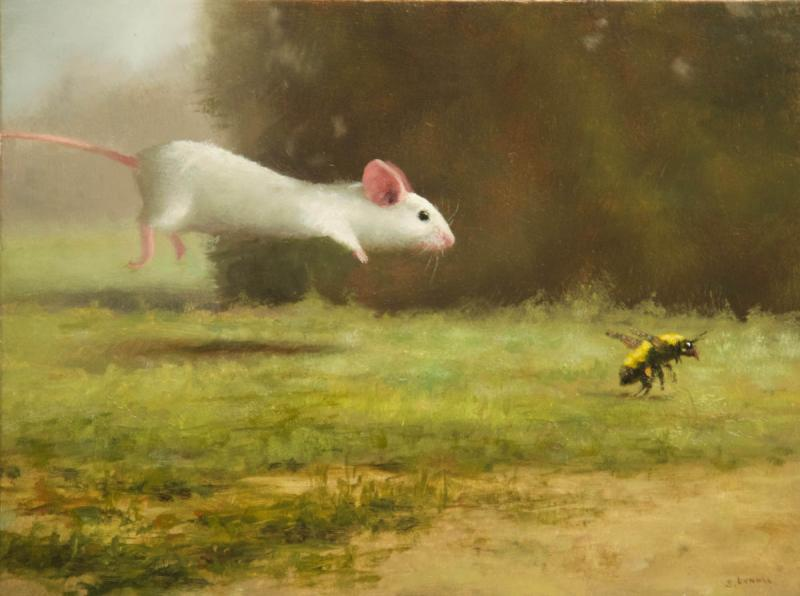 Pursuit, oil on panel, 6 x 8 inches, $900