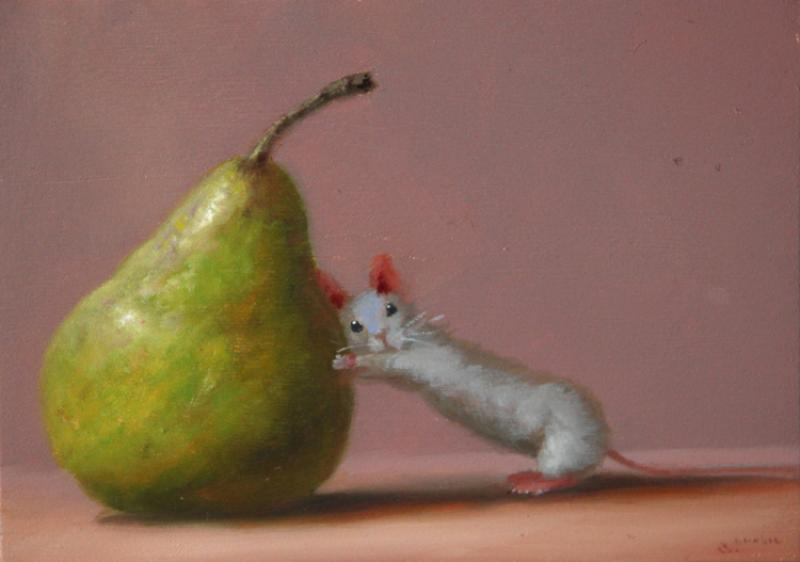 Pushy Fellow, oil on panel, 5 x 7 inches, $800