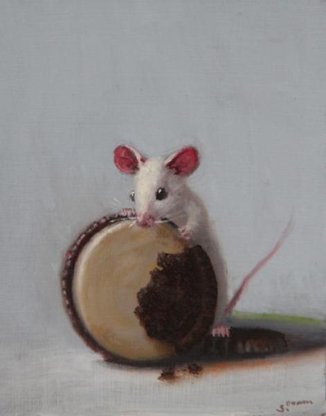 Smell Test, oil on panel, 4 x 5 inches, $600