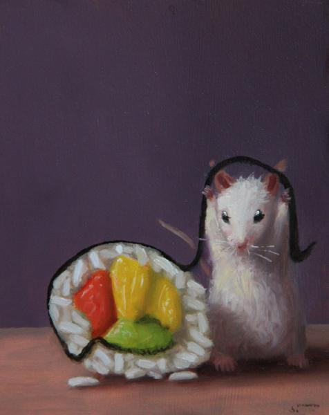 Sushi Lover, oil on panel, 5 x 4 inches, $600