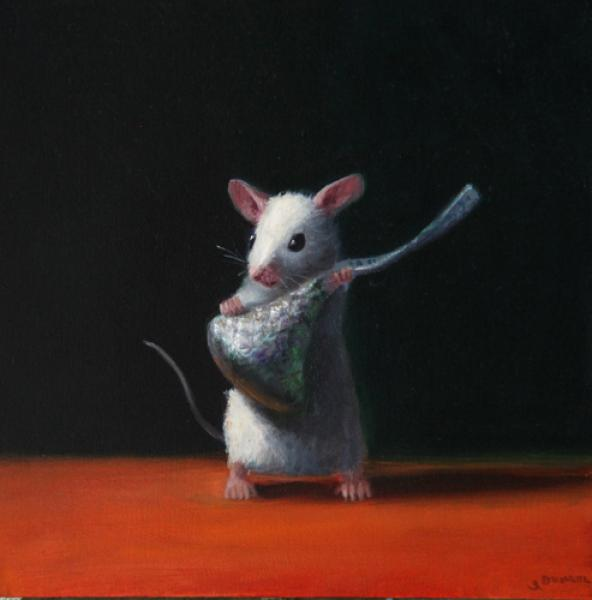 Time for a Kiss, oil on panel, 5 x 5 inches  SOLD