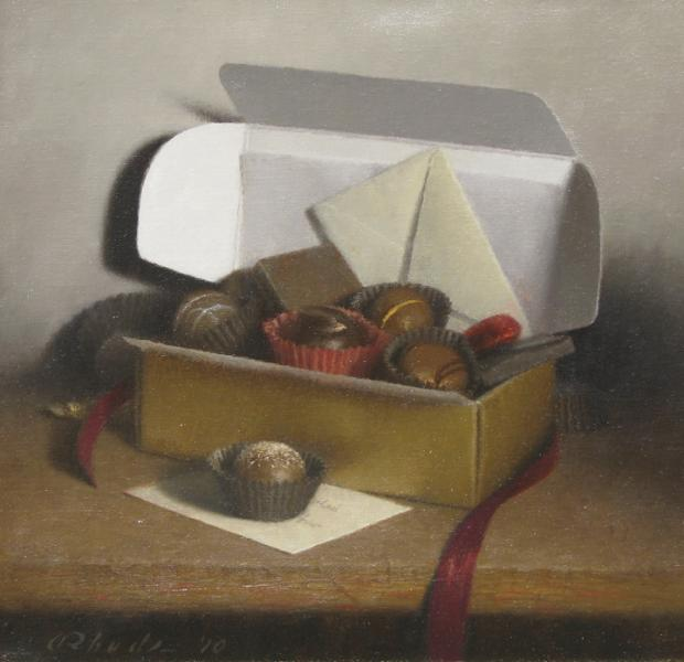 Box of Chocolates, oil on linen, 10 x 10 inches  SOLD