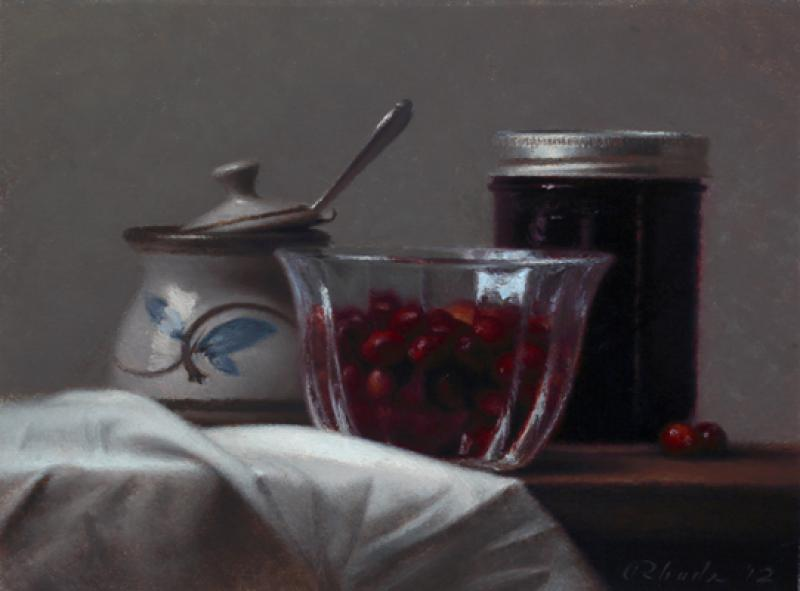 Cranberries, oil on linen, 9 x 12 inches  SOLD
