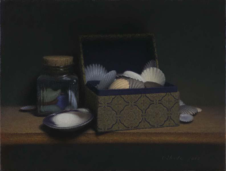 Scallops and Seaglass, oil on linen, 12 x 16 inches  SOLD