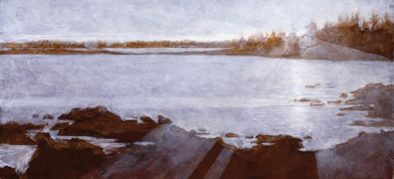 Vinalhaven Sunset (Grisaille) I, oil on panel, 11.25 x 24.75 inches , $10,000