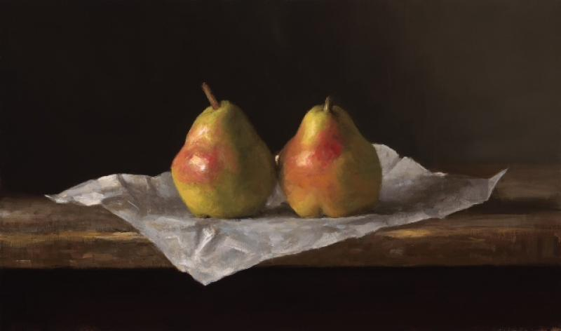 Pears, oil on linen, 10 x 17 inches   SOLD