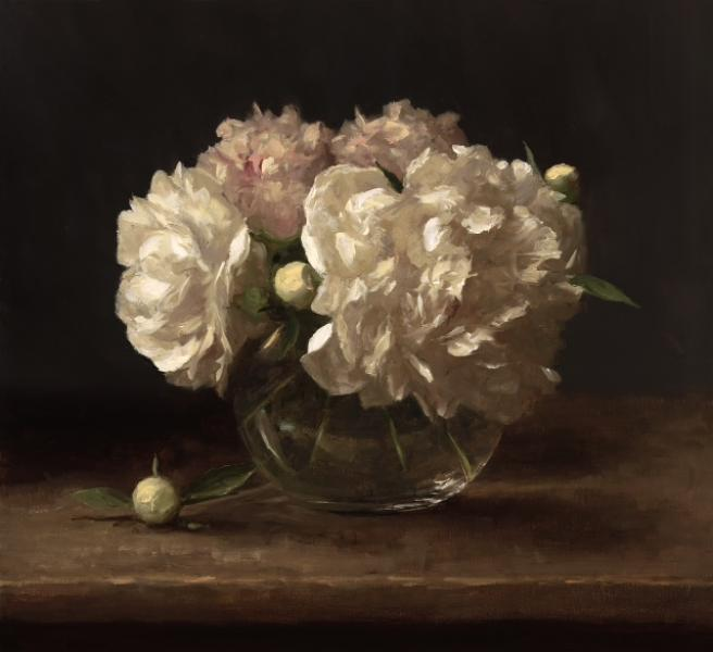 Peonies, oil on linen, 16 x 18 inches   SOLD