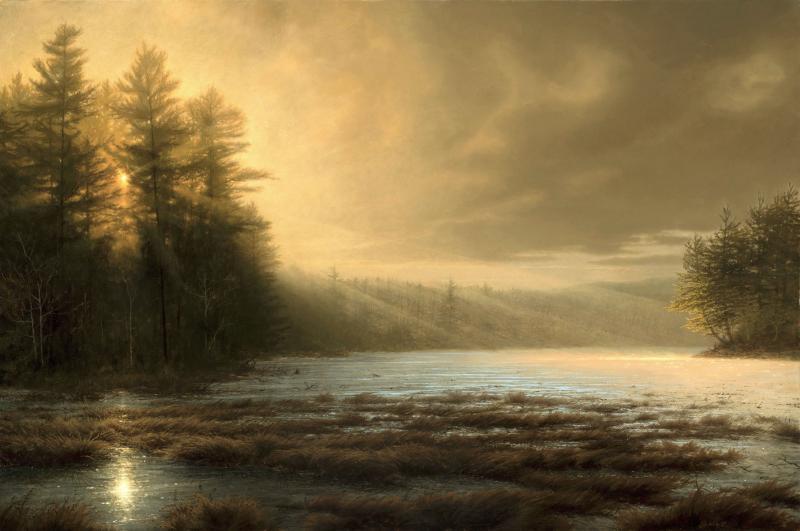 Sunrise Over Icy Lake