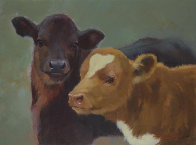 Calf pals 12 x 16 oil